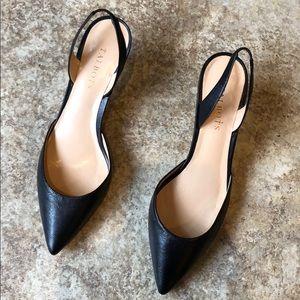 $129 Talbots Black Leather sling back Size 9.5
